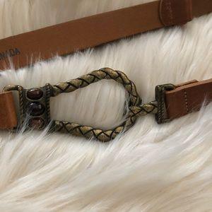 Chico's tan leather belt with adjustable slide